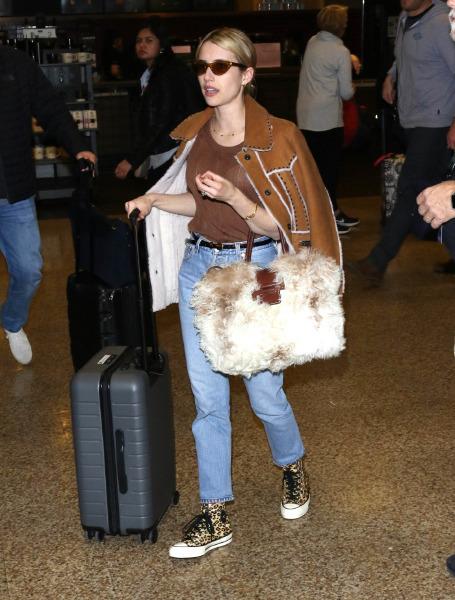 Emma Roberts, trend, ünlü stili, converse, shearling