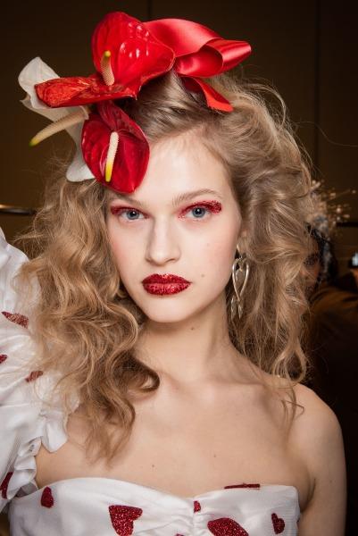 rodarte-runway-backstage-new-york-fashion-week-hair-makeup-glitter-flower-hair