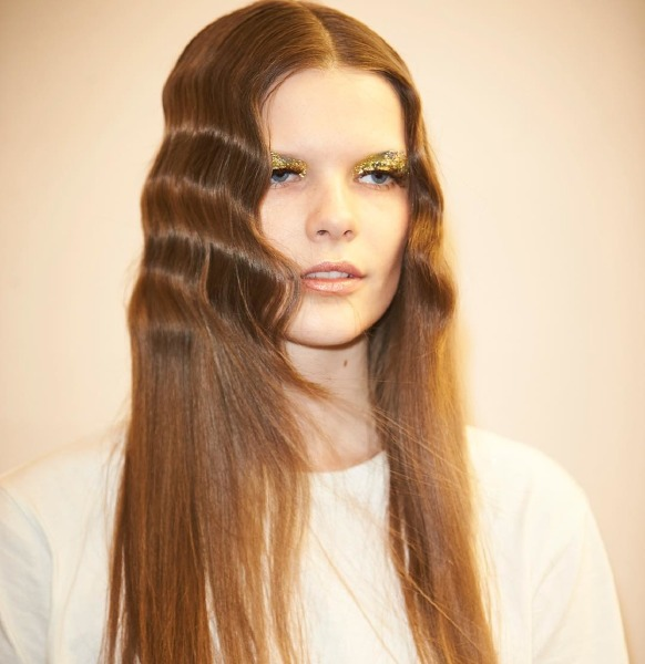 halpern-sam-macknight-Isamaya-Ffrench-runway-hair-make-up-gold-london-fashion-week