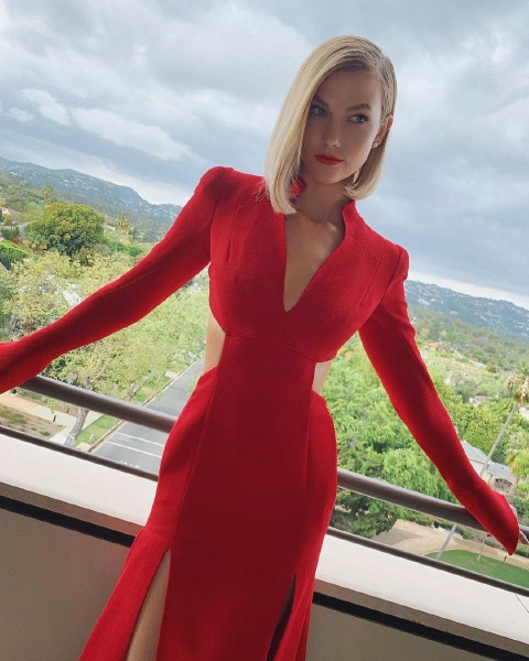 karlie-kloss-red-dress-make-up-beauty-skin-hair-style